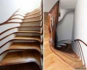 Необычная креативная дизайнерская искривлённая лестница