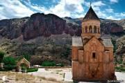 Нораванк – монастырский комплекс, построенный в 13 веке в 122 км от Еревана, на уступе узкого извилистого ущелья реки Арпа недалеко от города Ехегнадзор.